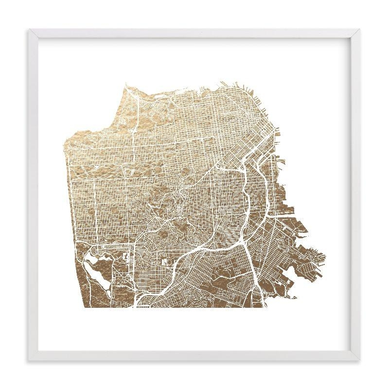 San Francisco Map Foil Pressed Wall Artalex Elko Design | Minted Within San Francisco Map Wall Art (Image 10 of 20)