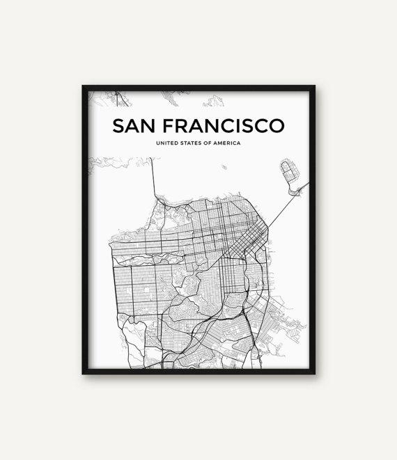 Featured Photo of San Francisco Map Wall Art