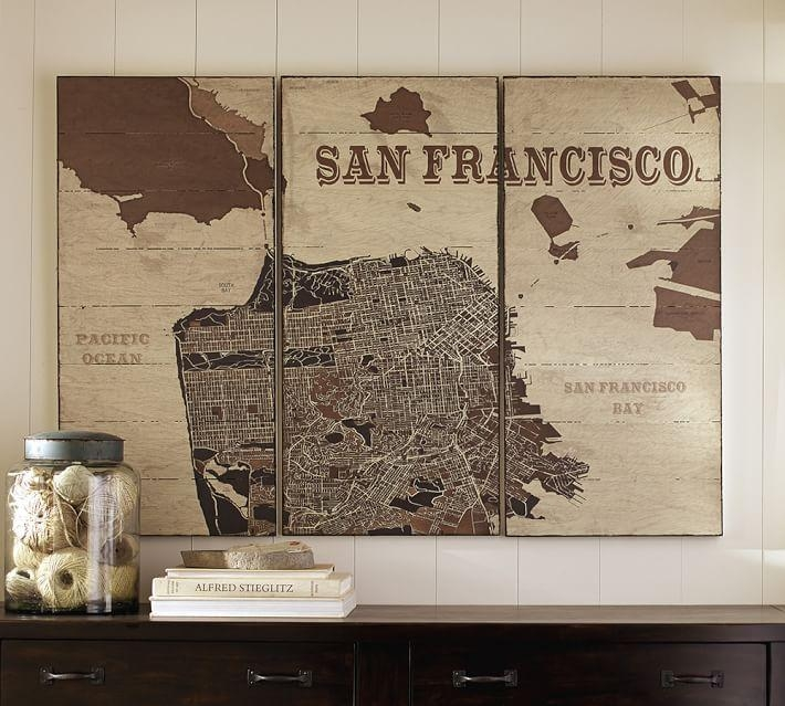 San Francisco Triptych Wood | Pottery Barn For San Francisco Map Wall Art (View 3 of 20)