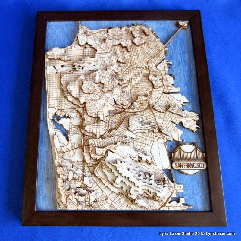 San Francisco Wall Art – Lyris Laser Studio Intended For San Francisco Map Wall Art (Image 15 of 20)