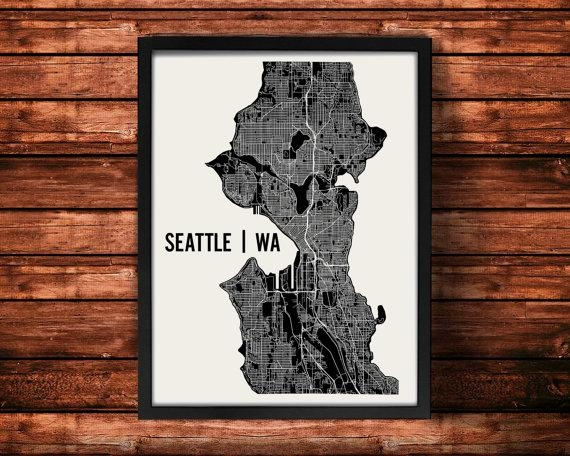 Seattle Map Art Print Seattle Print Seattle Art Print With Seattle Map Wall Art (Image 6 of 20)