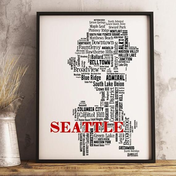 Seattle Map Art Seattle Art Print Seattle Neighborhood Map Intended For Seattle Map Wall Art (Image 7 of 20)