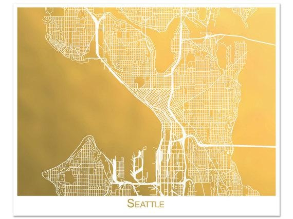 Seattle Map Gold Foil Map Of Seattle Seattle Print With Intended For Seattle Map Wall Art (Image 9 of 20)