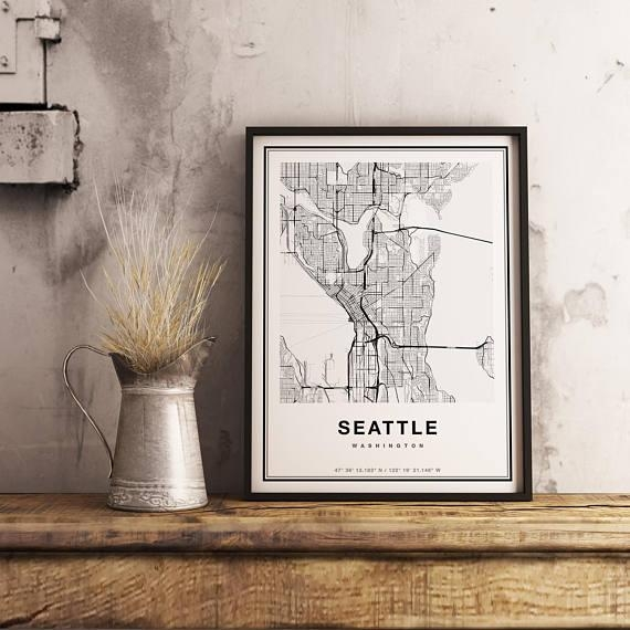 Seattle Map Print Seattle City Map Print Seattle Map Art In Seattle Map Wall Art (Image 10 of 20)