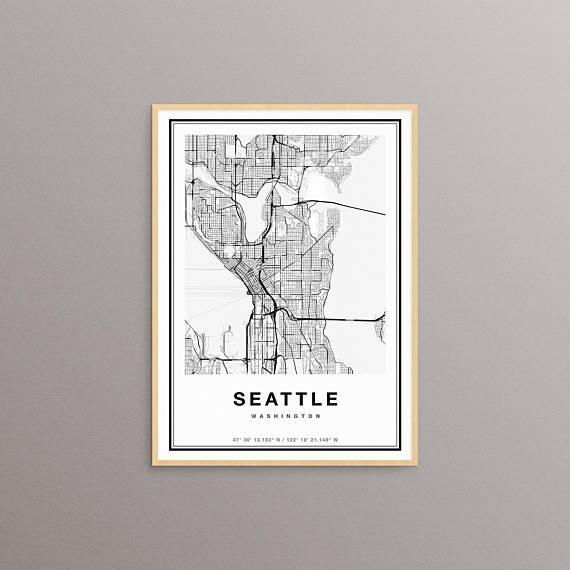 Seattle Map Print Seattle City Map Print Seattle Map Art Inside Seattle Map Wall Art (Image 11 of 20)