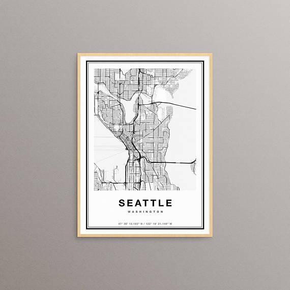Seattle Map Print Seattle City Map Print Seattle Map Art Inside Seattle Map Wall Art (View 17 of 20)