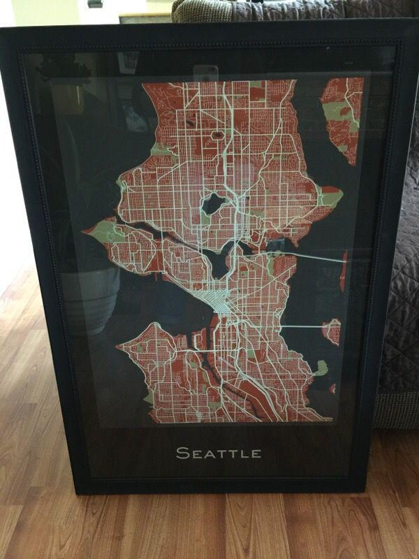 Seattle Map Wall Art (Household) In Covington, Wa – Offerup In Seattle Map Wall Art (Image 12 of 20)