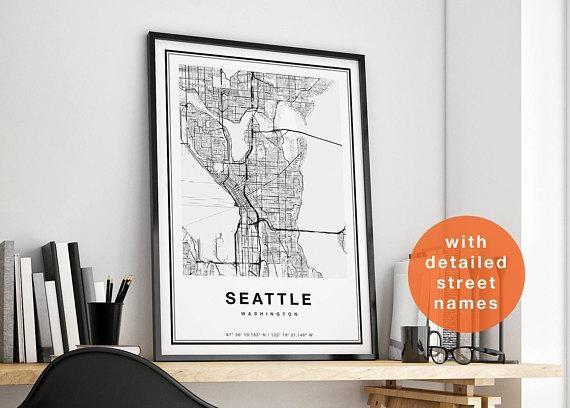 Seattle Map Wall Art With Seattle Map Wall Art (View 2 of 20)