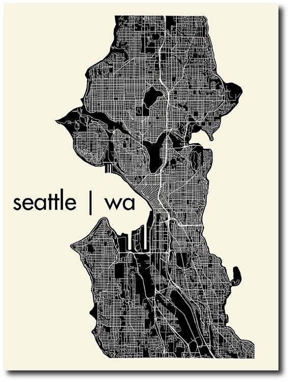 Seattle Washington Map Outline | Afputra For Seattle Map Wall Art (Image 18 of 20)