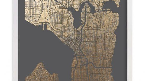 Seattle Washington Starry Night Skyline Canvas Wall Icanvas In Seattle Map Wall Art (Image 19 of 20)