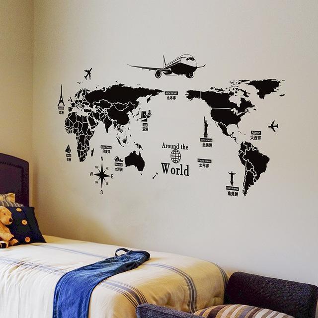 Shijuehezi] Airplane World Map Wall Sticker Vinyl Wall Art Diy In World Map Wall Art (Image 10 of 20)