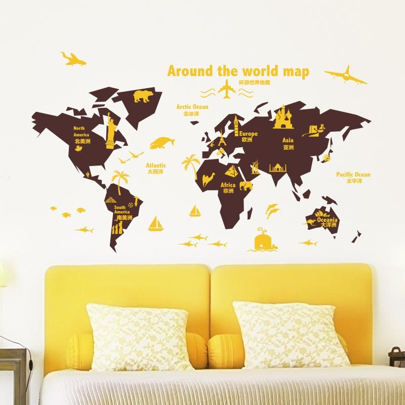 Shijuehezi] Customized World Map Wall Sticker Vinyl Diy Mural Art With Regard To Butterfly Map Wall Art (Image 17 of 20)