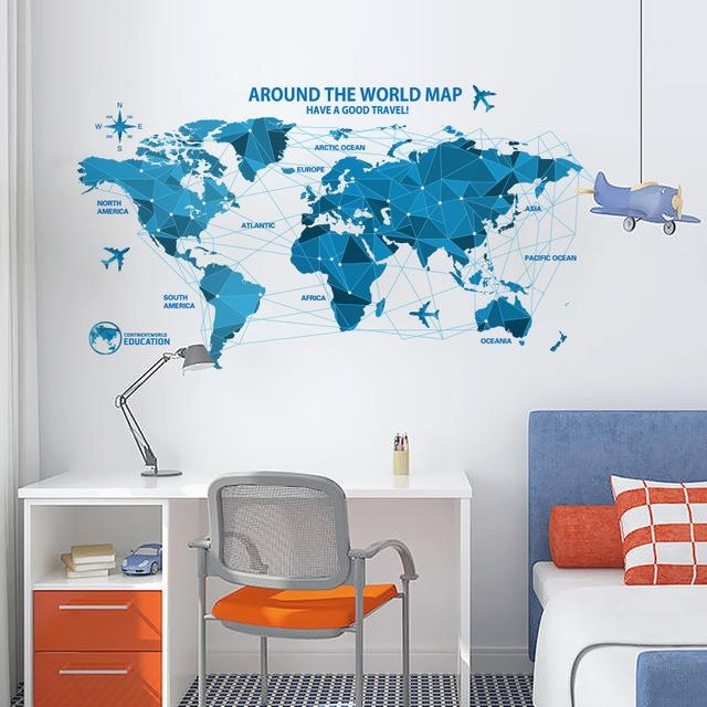 Shijuehezi] World Map Wall Sticker Poster Blue Color Pvc Material Within World Map Wall Art For Kids (Image 14 of 20)