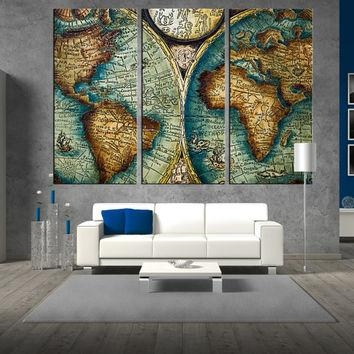 Shop Antique Map Print On Wanelo Regarding Large World Map Wall Art (Image 10 of 20)