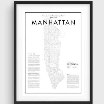 Shop Manhattan Map Print On Wanelo Intended For Manhattan Map Wall Art (Image 20 of 20)