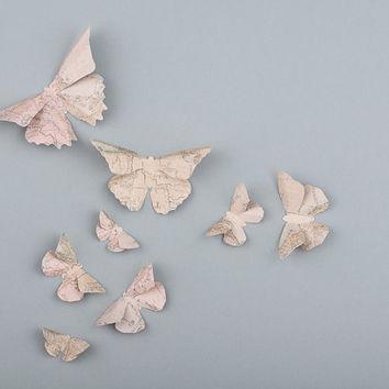 Shop Paper Butterfly Wall Art On Wanelo Inside Butterfly Map Wall Art (Image 18 of 20)