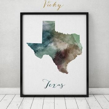 Shop Texas Map Print On Wanelo Throughout Texas Map Wall Art (Image 12 of 20)