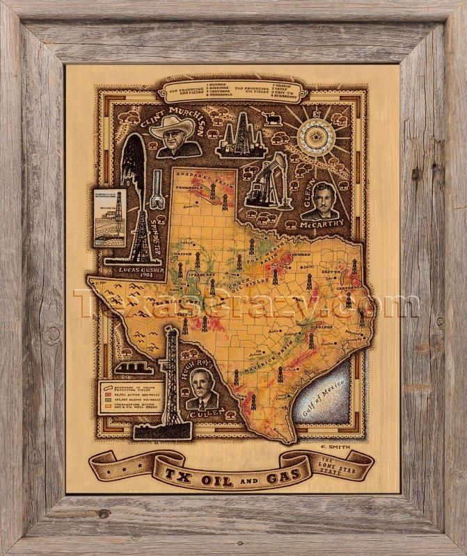 Shop Texas Oil And Gas Map Framed Unique Texas Wall Art Regarding Texas Map Wall  Art