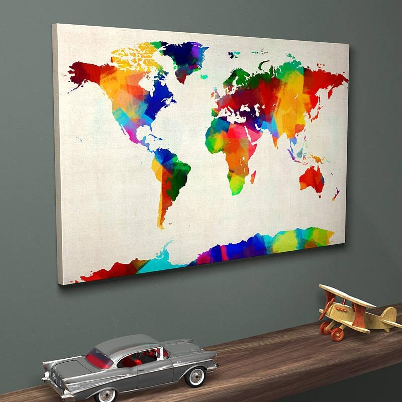 Sponge Paint Map Of The World Art Printartpause Throughout Abstract World Map Wall Art (Image 14 of 20)