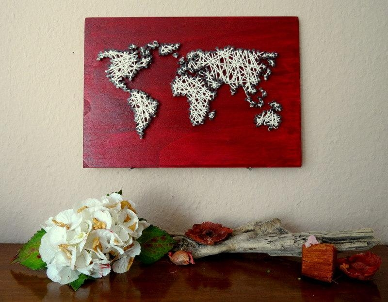String Art World Map Decal Small World Map World Map Intended For String Map Wall Art (View 11 of 20)