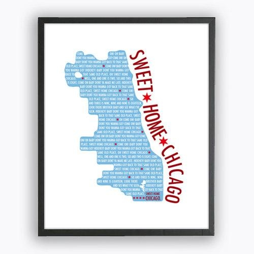 Sweet Home Chicago Print Chicago City Map Printable Wall Art For Chicago Map Wall Art (Image 20 of 20)