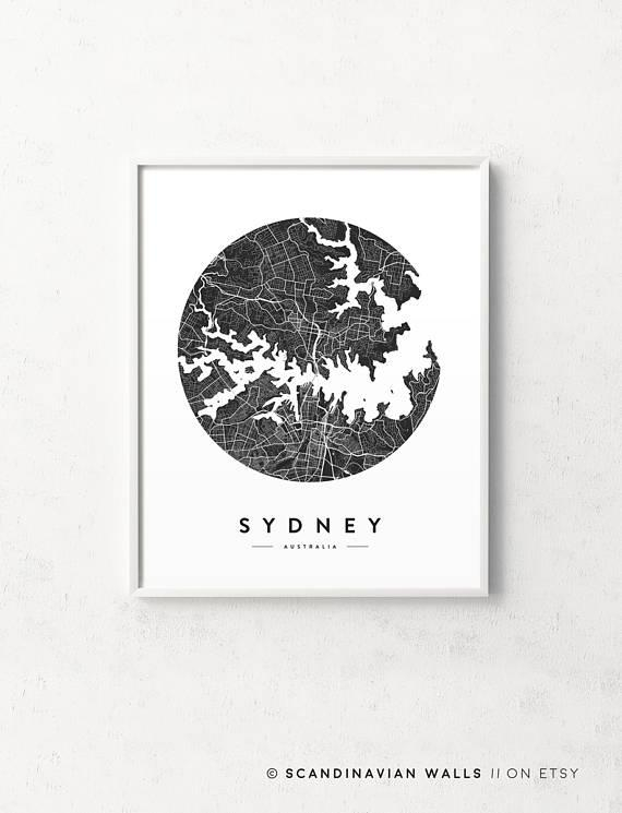 Sydney Map Poster Sydney Map Sydney Print Sydney Poster Intended For City Prints Map Wall Art (Image 19 of 20)