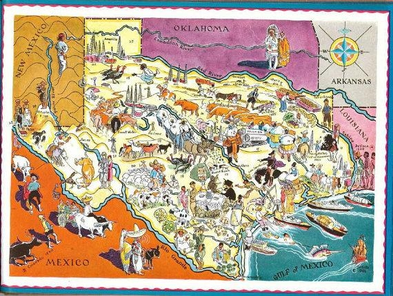 Texas Map Art / Vintage Texas Print / 1930S Old State Map Of Within Houston Map Wall Art (View 10 of 20)