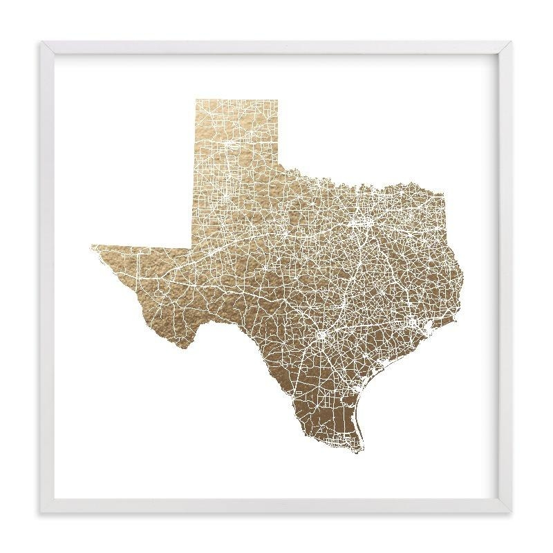 Texas Map Filled Foil Pressed Wall Artgeekink Design | Minted Within Texas Map Wall Art (View 6 of 20)