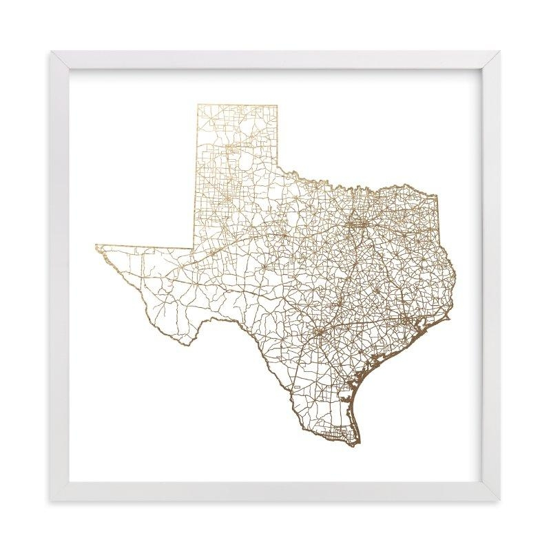 Texas Map Foil Pressed Wall Artgeekink Design | Minted Intended For Texas Map Wall Art (View 9 of 20)