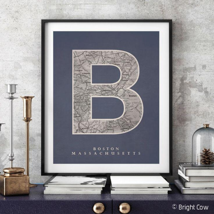 The 25+ Best Boston Map Ideas On Pinterest | Downtown Boston Pertaining To Boston Map Wall Art (Image 18 of 20)