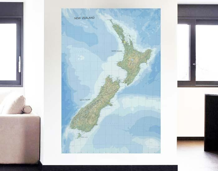 Topographic Map Of New Zealand – Your Decal Shop | Nz Designer Inside New Zealand Map Wall Art (Image 13 of 20)