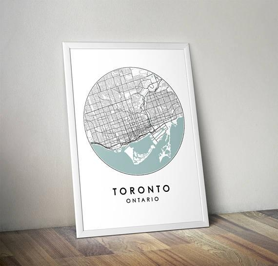 Toronto City Print Street Map Art Toronto Map Poster With Map Wall Art Toronto (View 11 of 20)