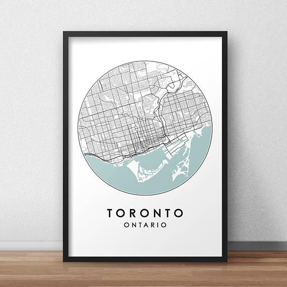 Toronto City Print Street Map Art Toronto Map Poster With Regard To Toronto Map Wall Art (Image 11 of 20)