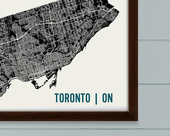 Toronto Map Art Print Toronto Print Toronto Art Print In Toronto Map Wall Art (Image 13 of 20)