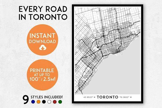Toronto Map Art Printable Canada Map Print Printable Toronto Inside Toronto Map Wall Art (Image 14 of 20)