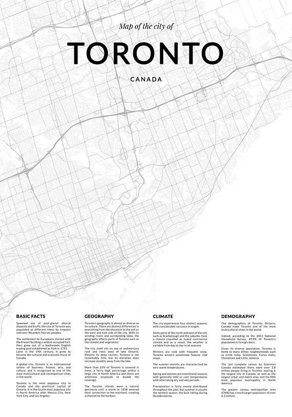 Toronto Map Print City Map Of Toronto Toronto Map Wall Art For Map Wall Art Toronto (Image 16 of 20)