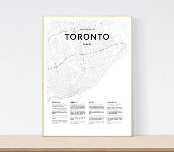 Toronto Map Print City Map Of Toronto Toronto Map Wall Art For Map Wall Art Toronto (Image 17 of 20)