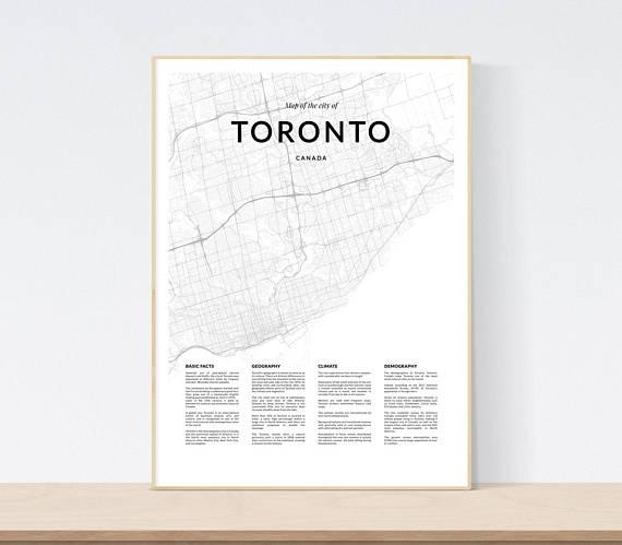 Toronto Map Print City Map Of Toronto Toronto Map Wall Art Pertaining To Toronto Map Wall Art (Image 16 of 20)