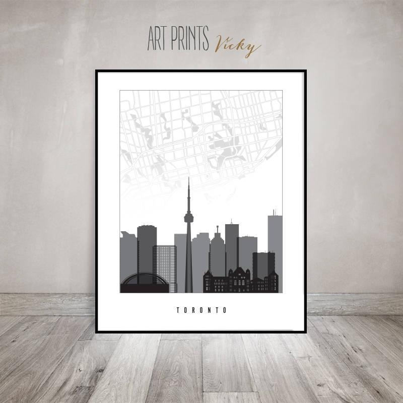 Toronto Map, Toronto Poster, Print Black And White, Toronto In Toronto Map Wall Art (Image 18 of 20)