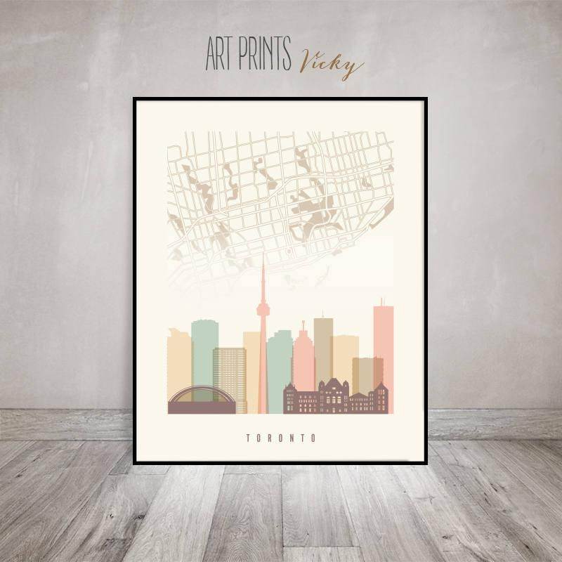 Toronto Map, Toronto Skyline Art Print, Toronto Poster, Wall Art Regarding Toronto Map Wall Art (Image 19 of 20)