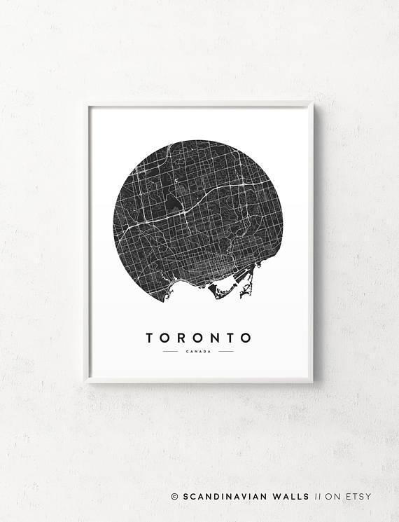 Toronto Print Toronto Map Toronto Poster Toronto City Map Regarding Map Wall Art Toronto (View 7 of 20)