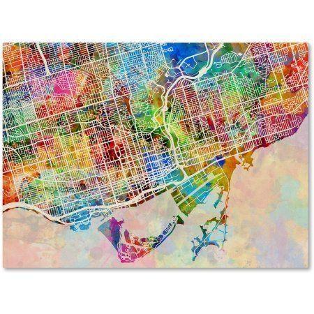 Trademark Fine Art Toronto Street Map Canvas Artmichael Inside Map Wall Art Toronto (View 14 of 20)