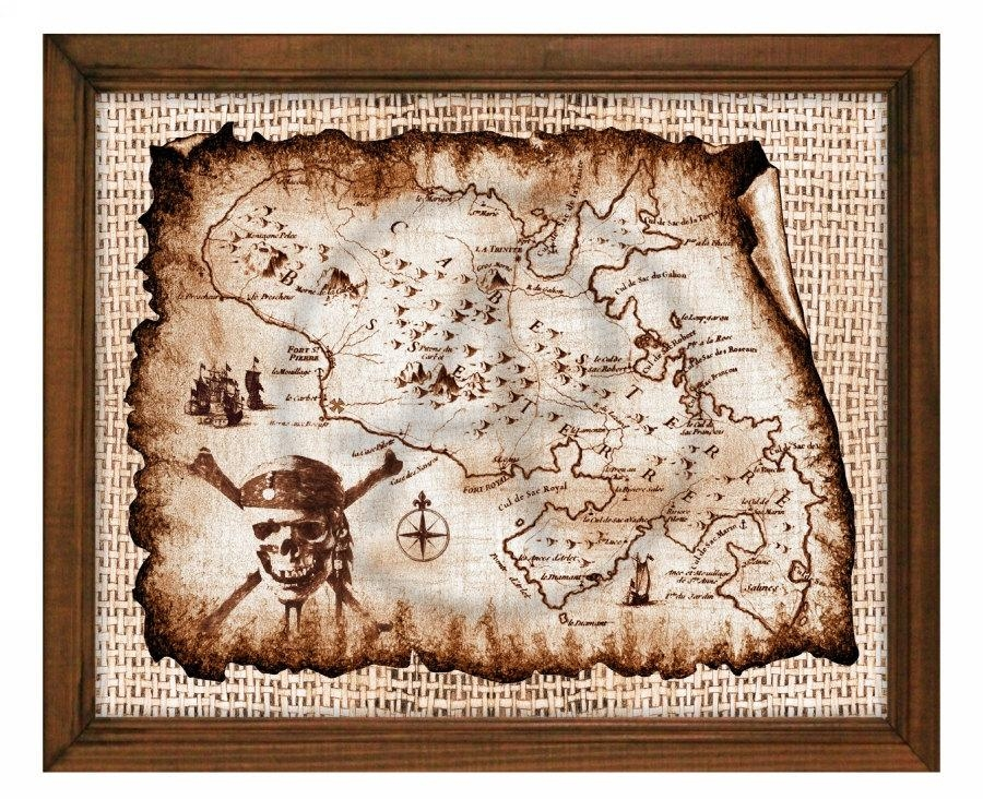 Treasure Decor Map Artpirates Of The Caribbeanpirate With Treasure Map Wall Art (Image 12 of 20)