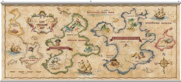 Treasure Map Antique Minute Mural In Treasure Map Wall Art (Image 13 of 20)