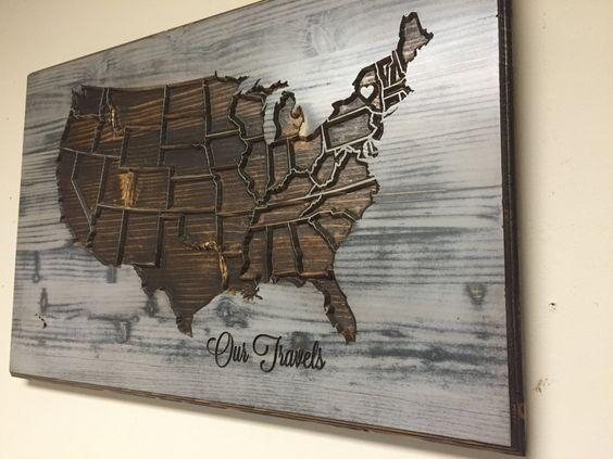 United States Map Artwork Personalized Wood Wall Art American Map With Map Wall Artwork (Image 12 of 20)