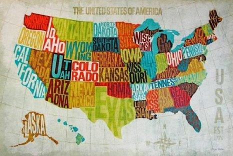 Featured Image of Usa Map Wall Art