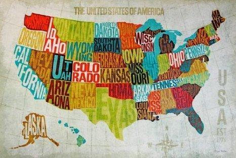 United States Map Decor Modern United States Map Wall Art Usa Regarding Usa Map Wall Art (Photo 1 of 20)