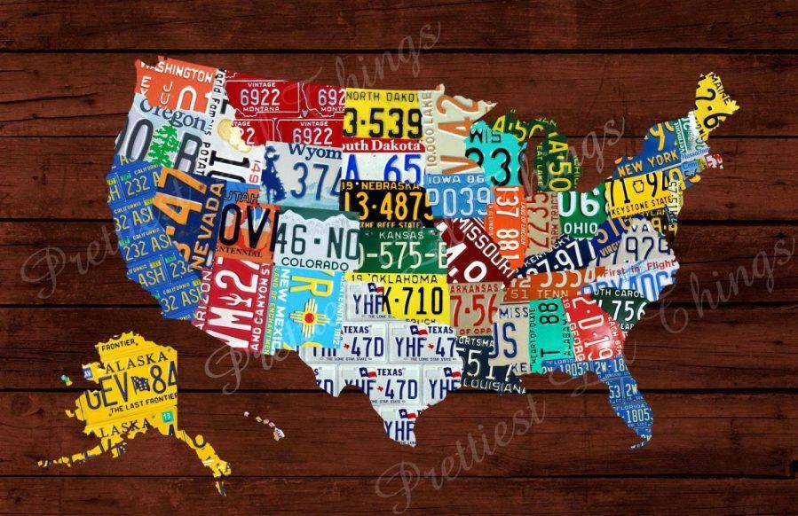United States Map Decor United States Map Canvas Wall Art United Regarding License Plate Map Wall Art (Image 17 of 20)