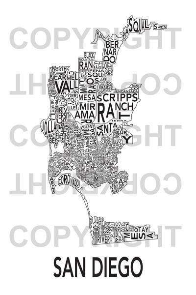 Urban Neighborhood Map San Diego Map – San Diego Ca • Mappery Regarding San Diego Map Wall Art (Image 20 of 20)