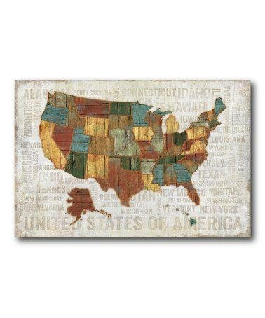 Us Map Canvas Wall Art Wooden United States Map Wall Art United With Regard To State Map Wall Art (Image 11 of 20)